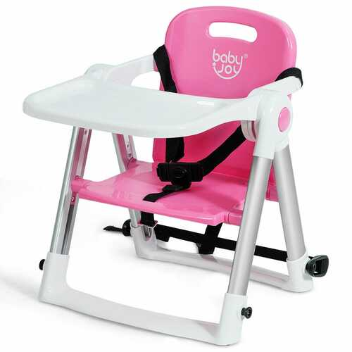 Baby Booster Folding Travel High Chair with Safety Belt & Tray-Pink - Color: Pink