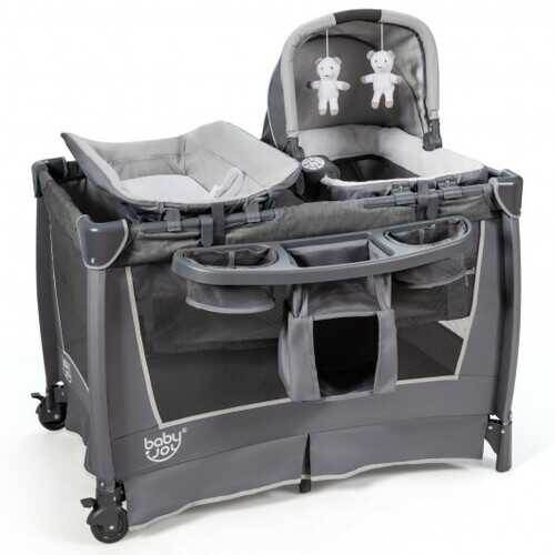 4-in-1 Convertible Portable Baby Play yard with Toys and Music Player-Gray