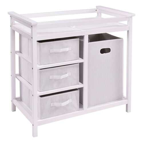 Infant Baby Changing Table w/3 Basket Hamper Diaper Storage Nursery-White