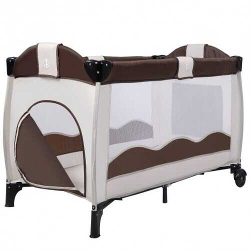 Baby Crib Playpen Playard Pack Travel Infant Bassinet Bed Foldable 4 color-COFFEE