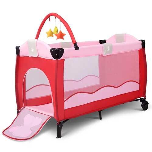 Baby Crib Playpen Playard Pack Travel Infant Bassinet Bed Foldable 4 color-pink