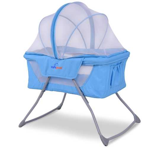 Foldable Lightweight Baby Bassinet Rocking Bed with Mosquito Net