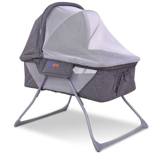 Lightweight Foldable Baby Bassinet Rocking Bed with Mosquito Net