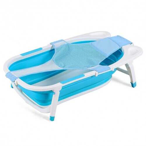 Baby Folding Collapsible Portable Bathtub w/ Block-Blue