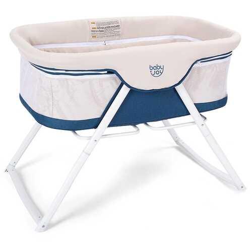 Portable Newborn Rocking Foldaway Baby Bassinet Crib-Beige