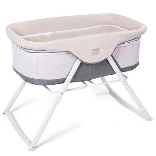 Portable Newborn Rocking Foldaway Baby Bassinet Crib-Gray