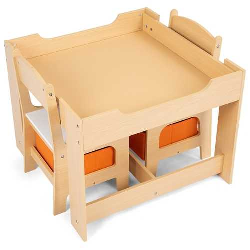 Kids Table and Chair Set with Storage Boxes