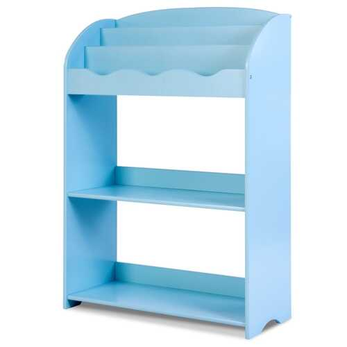 3-Tier Kids Bookshelf Magazine Storage Bookcase -Blue