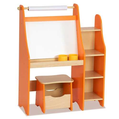 Art Kids Drawing Desk with Shelf and Stool