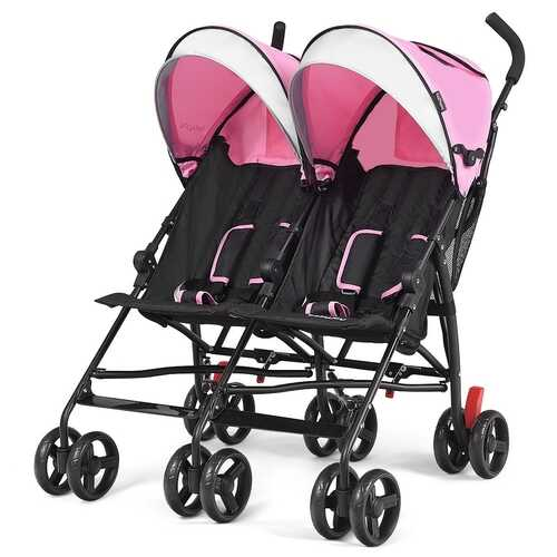 Foldable Twin Baby Double Stroller Ultralight Umbrella Kids Stroller-Pink
