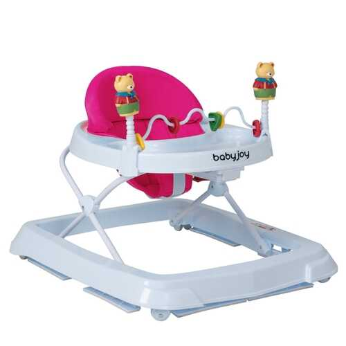 Adjustable Height Removable Folding Portable Baby Walker-Pink