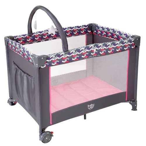Folding Travel Baby Crib Playpen with Baby Toys