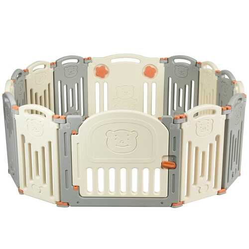 Foldable Baby Playpen 14 Panel Activity Center Safety Play Yard-Beige