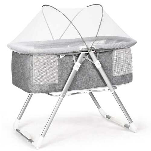 2 in 1 Foldable Crib with Detachable & Thicken Mattress-Gray