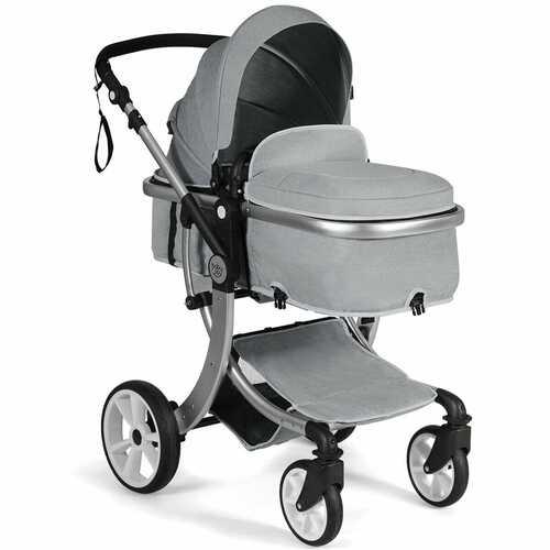 Folding Aluminum Infant Reversible Stroller with Diaper Bag-Gray - Color: Gray