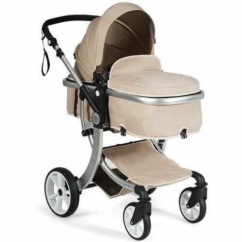 Folding Aluminum Infant Reversible Stroller with Diaper Bag-Beige - Color: Beige