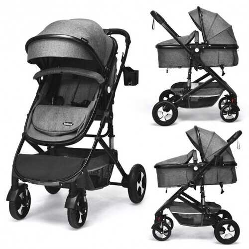 2 in 1 High Landscape Convertible Reversible Bassinet Pram-Gray
