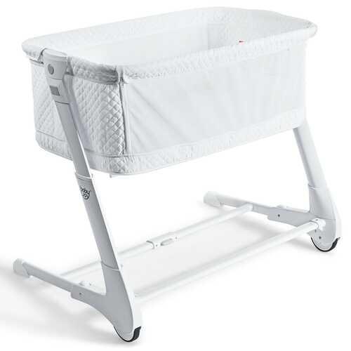 Baby Height Adjustable Bassinet w/ Washable Mattress-White