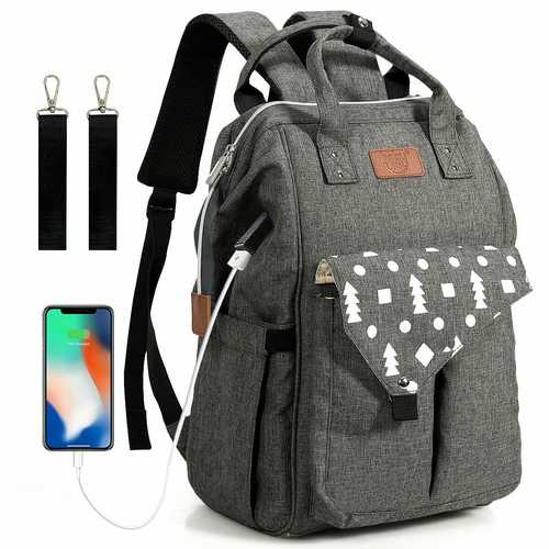 Waterproof Large Diaper Bag Backpack with USB Charging