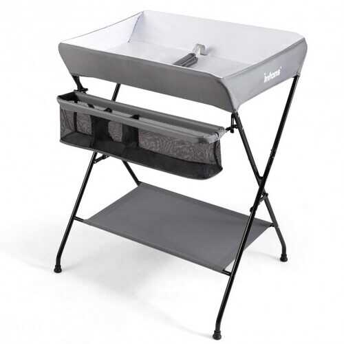 Portable Infant Changing Station Baby Diaper Table with Safety Belt-Gray - Color: Gray