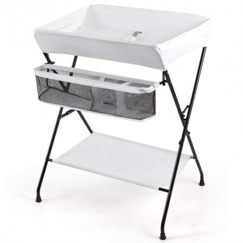 Portable Infant Changing Station Baby Diaper Table with Safety Belt-White - Color: White