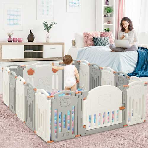 16 Panel Activity Safety Baby Playpen w/ Lock Door-Beige