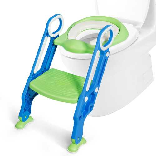 Potty Training Toilet Seat w/ Step Stool Ladder-Blue