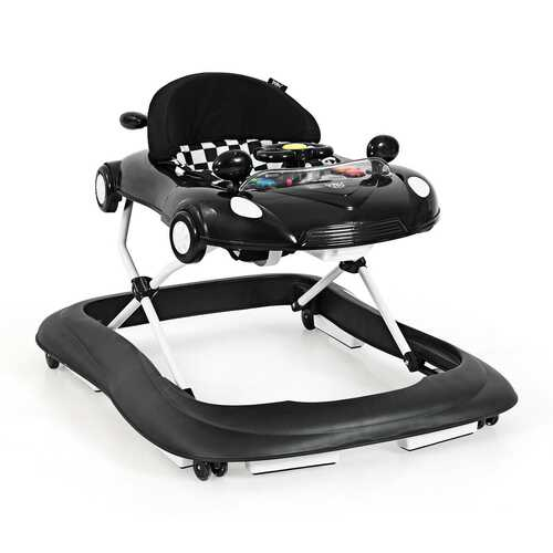 2-in-1 Foldable Baby Walker with Music Player & Lights-Black