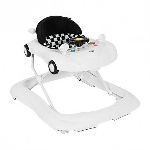 2-in-1 Foldable Baby Walker with Music Player & Lights-White