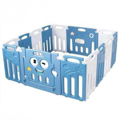 14-Panel Foldable Baby Playpen Kids Activity Centre-Blue