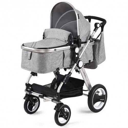 Folding Aluminum Baby Stroller Baby Jogger with Diaper Bag-Gray