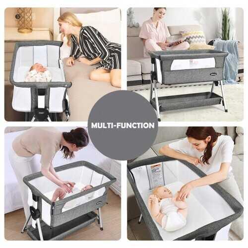Adjustable Baby Bedside Crib with Large Storage-Dark Gray - Color: Dark Gray