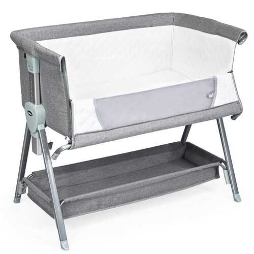 Adjustable Baby Bedside Crib with Large Storage-Gray - Color: Gray