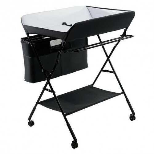 Portable Adjustable Height Newborn Nursery Organizer  with wheel-Black - Color: Black