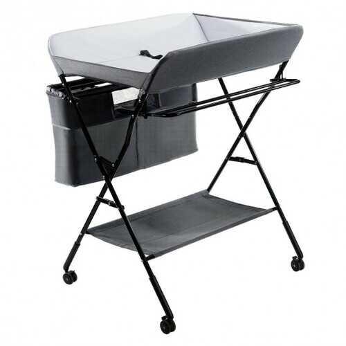 Portable Adjustable Height Newborn Nursery Organizer  with wheel-Gray - Color: Gray