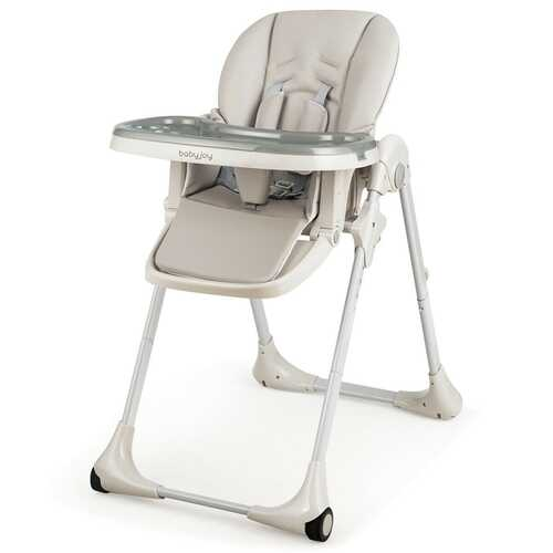 Baby Convertible High Chair with Wheels-Gray