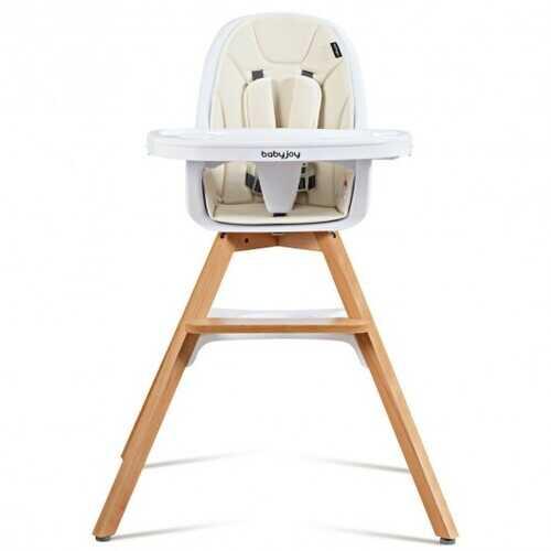 3-in-1 Convertible Wooden Baby High Chair-Beige - Color: Beige
