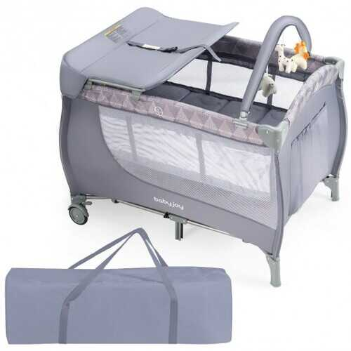 Foldable Baby Playard with Changing Station-Gray