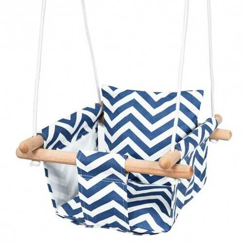 Indoor Outdoor Baby Canvas Hanging Swing-Blue - Color: Blue