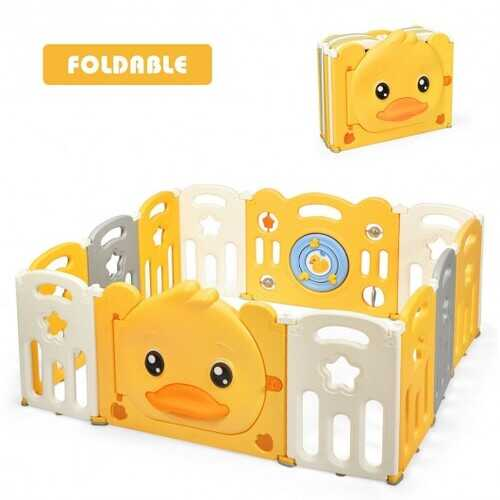 12-Panel Foldable Baby Playpen with Sound