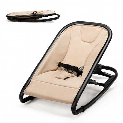2-in-1 Adjustable Baby Bouncer and Rocker-Beige - Color: Beige