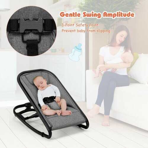 2-in-1 Adjustable Baby Bouncer and Rocker-Gray - Color: Gray