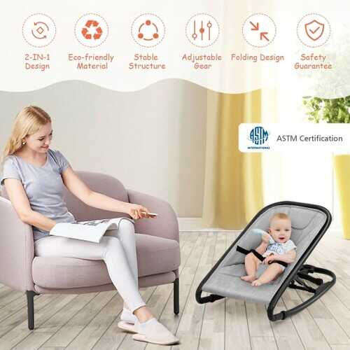 2-in-1 Adjustable Baby Bouncer and Rocker-Gray - Color: Light Gray