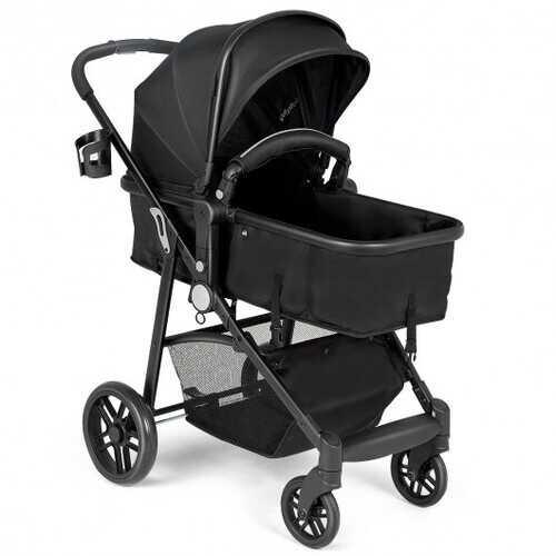 2-in-1 Foldable Pushchair Newborn Infant Baby Stroller-Black - Color: Black