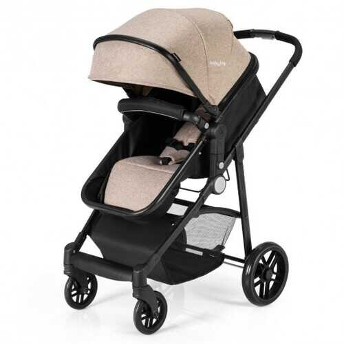 2-in-1 Foldable Pushchair Newborn Infant Baby Stroller-Coffee - Color: Coffee