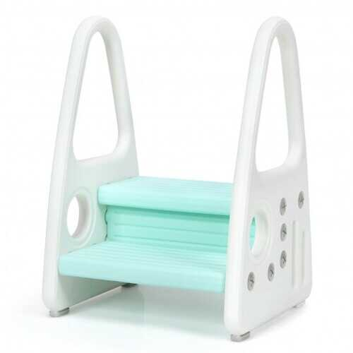 Kids Step Stool Learning Helper with Armrest for Kitchen Toilet Potty Training-Blue - Color: Blue