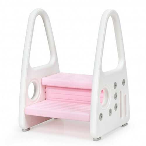 Kids Step Stool Learning Helper with Armrest for Kitchen Toilet Potty Training-Pink - Color: Pink