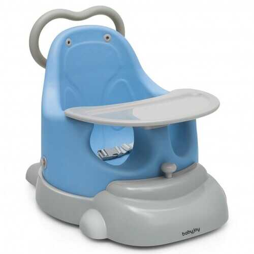 6-in-1 Convertible Baby Booster Seat with Tray Wheels-Blue - Color: Blue