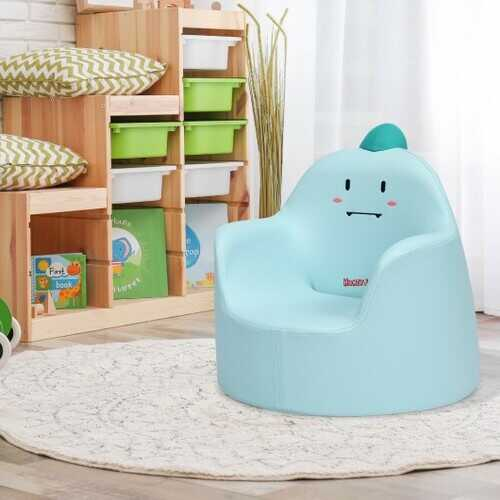 Kids Cartoon Sofa Seat Toddler Children Armchair Couch-Blue - Color: Blue
