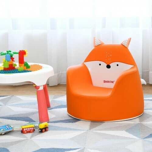 Kids Cartoon Sofa Seat Toddler Children Armchair Couch-Orange - Color: Orange